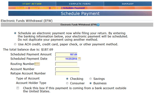 Screenshot of New Payment Option in Nebfile showing Electronic Funds Withdrawal