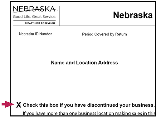 Demonstration image on where the checkbox is located on the form when closing a business.